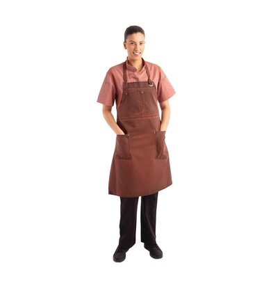 Chef Works Urban Halterschort Urban Dorset | Kort Model | Roestbruin | 100% Katoen