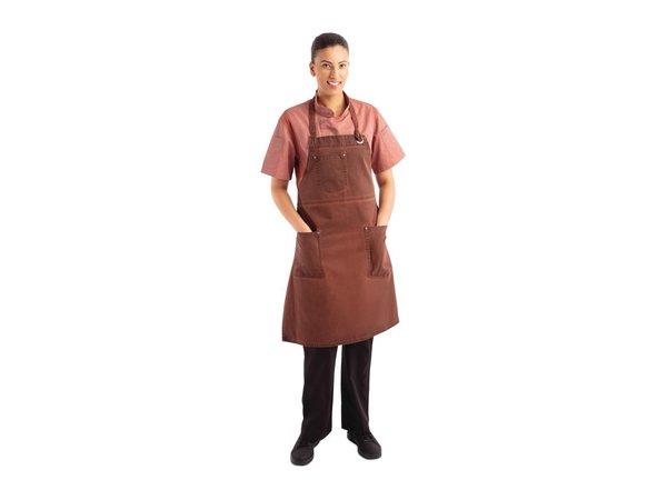 Chef Works Urban Halterschort Urban Dorset   Kort Model   Roestbruin   100% Katoen