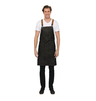 Chef Works Urban Halterschort Urban Berkeley | Denim Schort met Bretels | 100% Denim Katoen