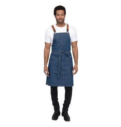 Chef Works Urban Halterschort Urban Berkeley | Denim Schort met Bretels | Blauw | 100% Denim Katoen