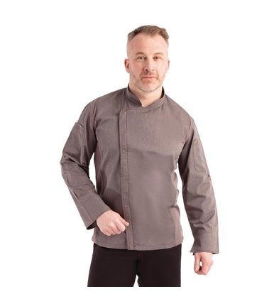 Chef Works Urban Chef's jacket Urban Hartford Unisex | Zipper closure Long Sleeves Gray Available in 5 sizes