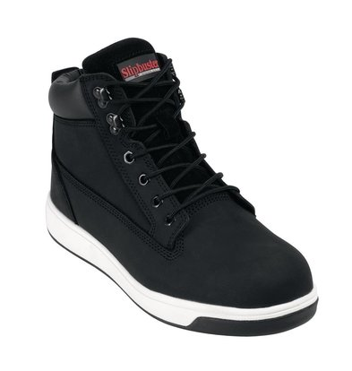 Slipbuster Footwear Safety shoes Black | High Model Non-slip + Steel Nose Available up to size 46