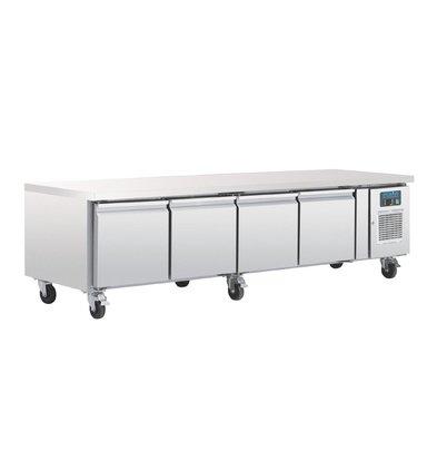 Polar 4 Doors Stainless Steel Cool Workbench   420 liters   Low Model 6 Wheels   2230x700x (H) 650mm