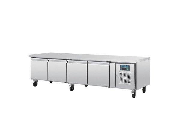 Polar 4 Deurs RVS Koelwerkbank | 420 Liter | Laag Model | 6 Wielen | 2230x700x(H)650mm