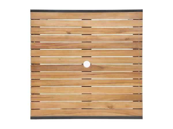Bolero Acaciahouten Tafel met Stalen Behuizing | 800x800x(H)740mm