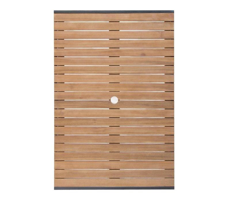 Bolero Acaciahouten Tafel met Stalen Behuizing | 1200x800x(H)740mm