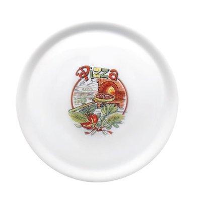 Saturnia Porseleinen Pizzabord | Met Opdruk | 310mm | Beschikbaar in 4 Opdrukken