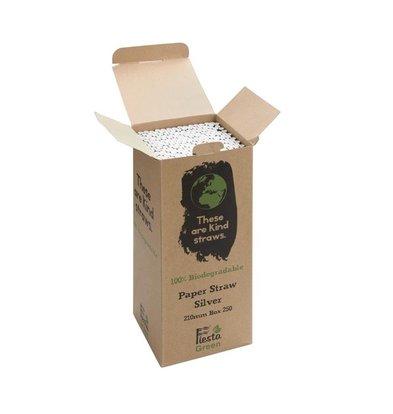 Fiesta Green Biologisch Afbreekbare Papiere Rietjes  | 210mm | Per 250 Stuks | Beschikbaar in 5 Kleuren