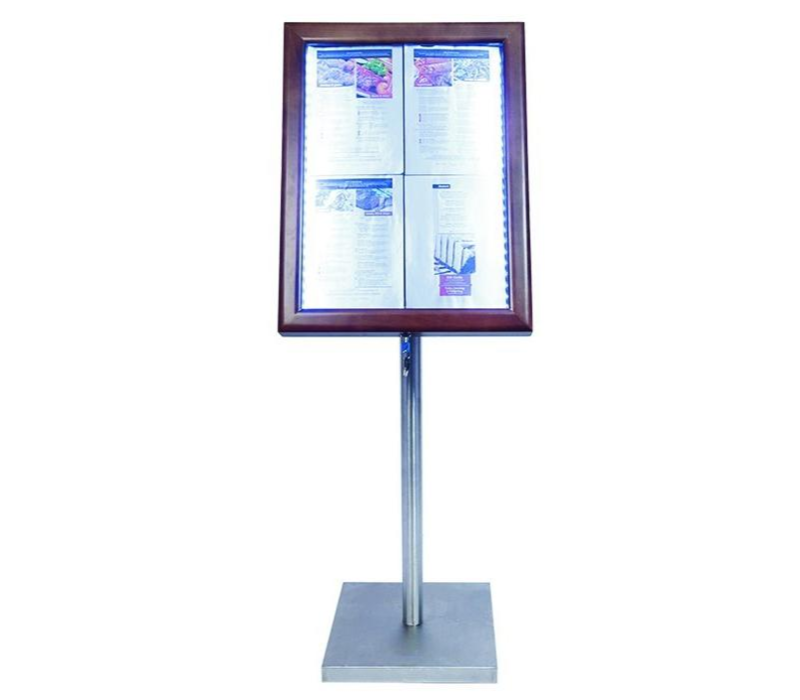 Securit SHOW MODEL | Menu cabinet with LED lighting - Wooden style Dark Brown - 4xA4
