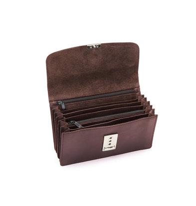 Pavelinni Brown Leather Horeca Portomonee | 6 Intermediate compartments + Coin holder | With Nylon Waist Belt 180x30x100mm