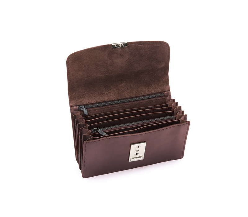 Pavelinni Brown Leather Horeca Portomonee | 6 Intermediate compartments + Coin holder | With Nylon Waist Belt 180x30x100mm