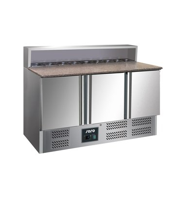 Saro Pizza Workbench - Stainless Steel - 3 door - 137x70x (h) 110cm - With 8x GN 1/6