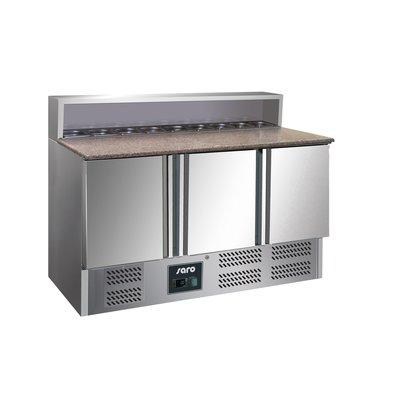 Saro Pizzawerkbank - RVS - 3 deurs - 137x70x(h)110cm - Met 8x 1/6 GN