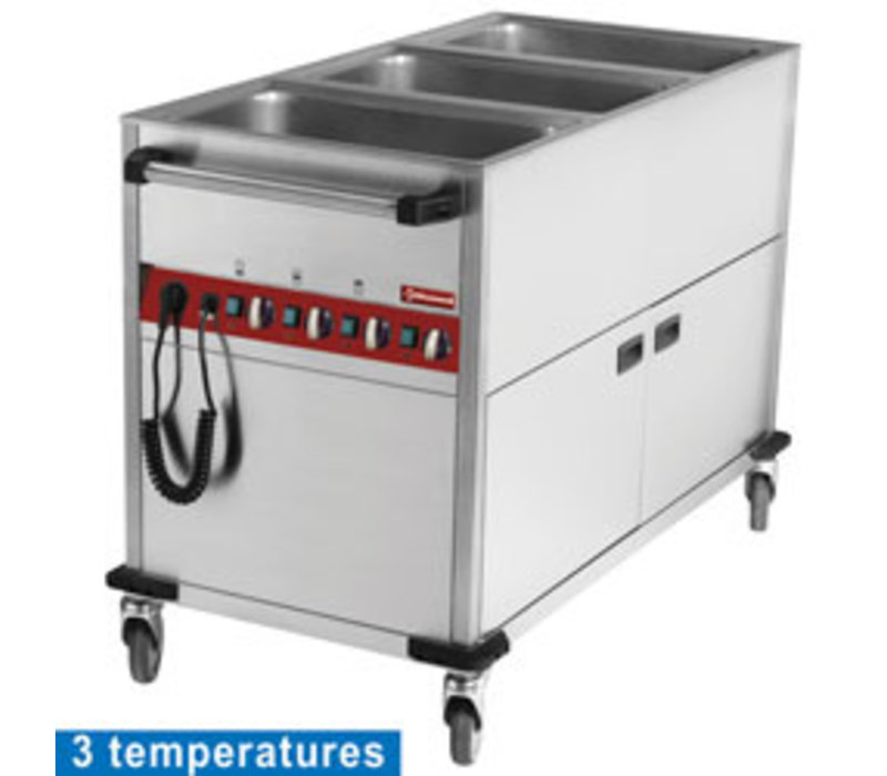 Diamond Bain-Marie Trolley | 3 x 1/1GN | 150mm Diep | Met Warmhoudkast  | 1250x700x(h)900mm