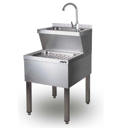 Saro RVS Handwasbak Gecombineerd | Gootsteen | 500x700x(H)850mm