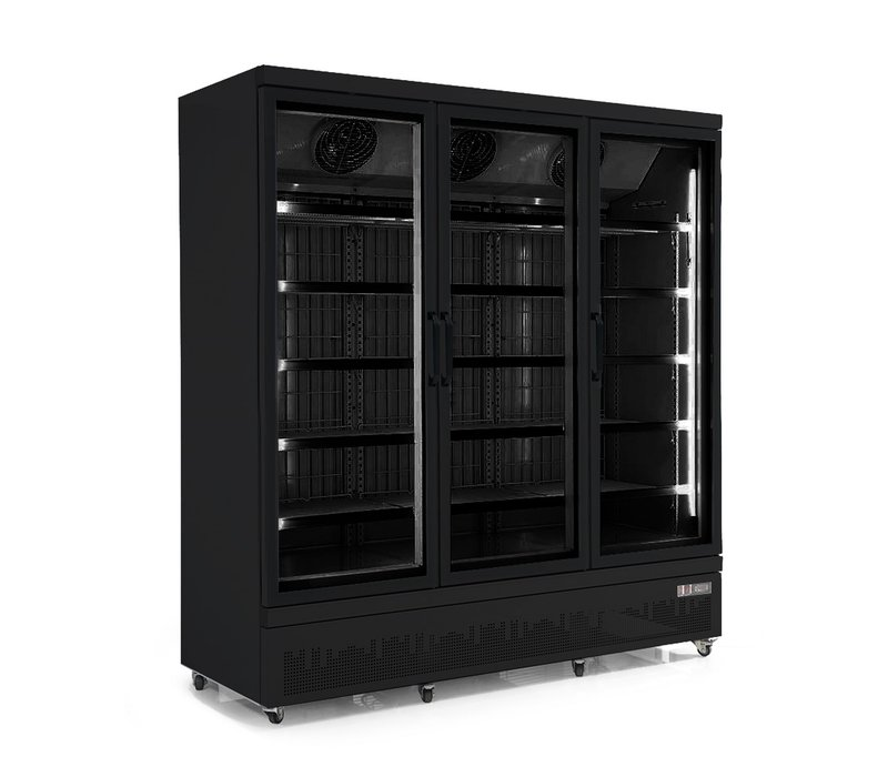 Combisteel Refrigerator Black | 3 Glass Doors | 1530 liters | On Wheels | 1880x710x (H) 1997mm