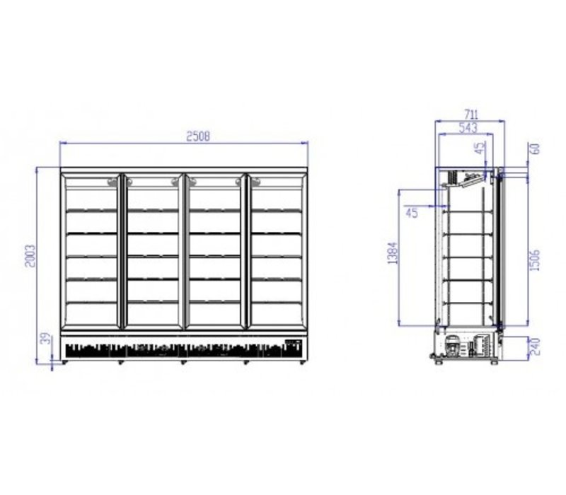 Combisteel Koelkast Zwart | 4 Glazen Deuren | 2025 Liter | Op Wielen | 2508x710x(H)1997mm