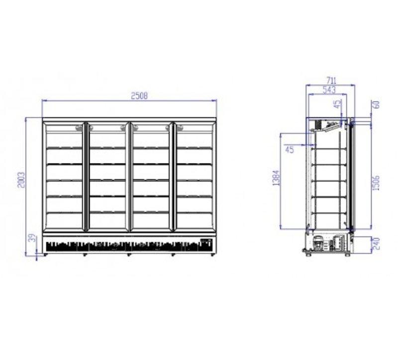 Combisteel Refrigerator Black | 4 Glass Doors | 2025 liters | On Wheels | 2508x710x (H) 1997mm