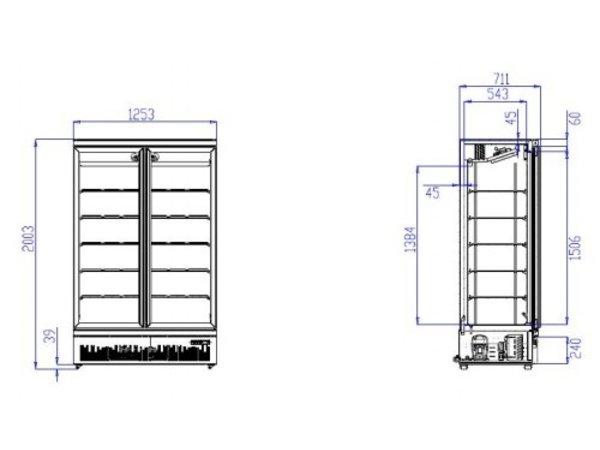 Combisteel Freezer Black 2 Glass Doors   1000 liters   On Wheels   1253x710x (H) 1997mm