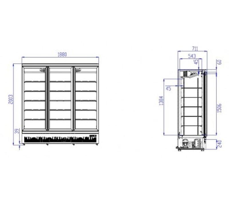 Combisteel Vrieskast Zwart | 3 Glazen Deuren | 1530 Liter | Op Wielen | 1760x710x(H)1997mm