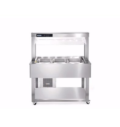 Afinox Chilled Buffet Island Stainless Steel | ESSENCE GREEN PLUS 3/1 | 1139x650x (H) 1326mm