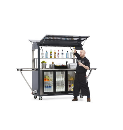 MultiWagon Coolrolly Cocktailbar | Multifunctionele Mobiele Pop-up Cokctailbar | 1850x750x(H)2040mm