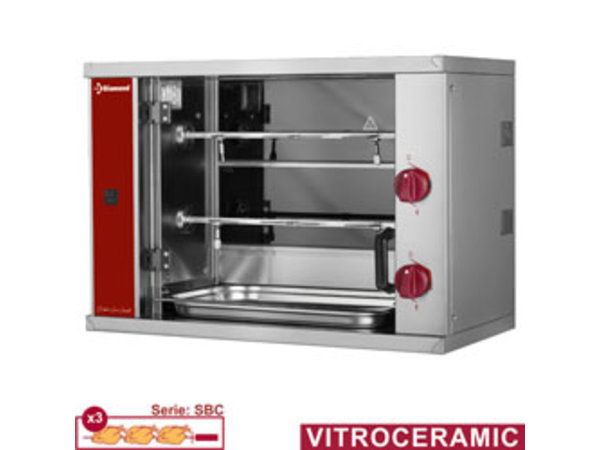 Diamond Vitroceramic chicken spit, 2 spits (6 chickens) SMALL