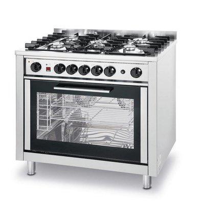 Hendi Gasfornuis 5 Pits + Elektrische Oven   230V   900x650x850/900mm