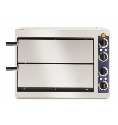 Hendi Pizzaoven Basic Dubbel 40 | RVS | 2400W | 568x430x(H)425mm