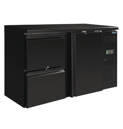 Polar Blind Bar fridge 1 door with 2 drawers - 349 liters - 1462x513x860 mm