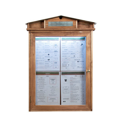 Securit Rustic Menu cabinet with LED lighting - Wooden Mahogany style - 4xA4