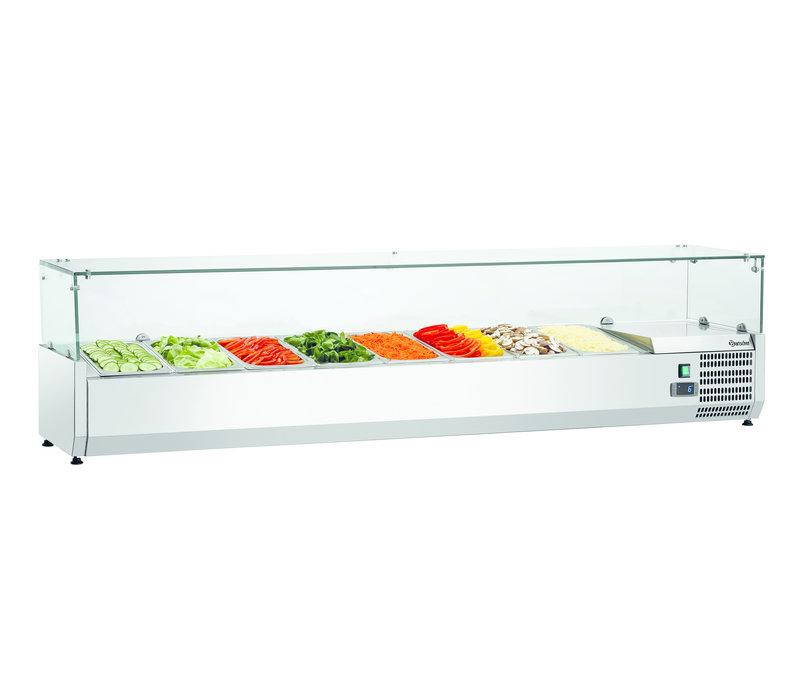 Bartscher Refrigerated display case 8x 1/3 GN | Glass Structure 1790x390x (H) 195mm