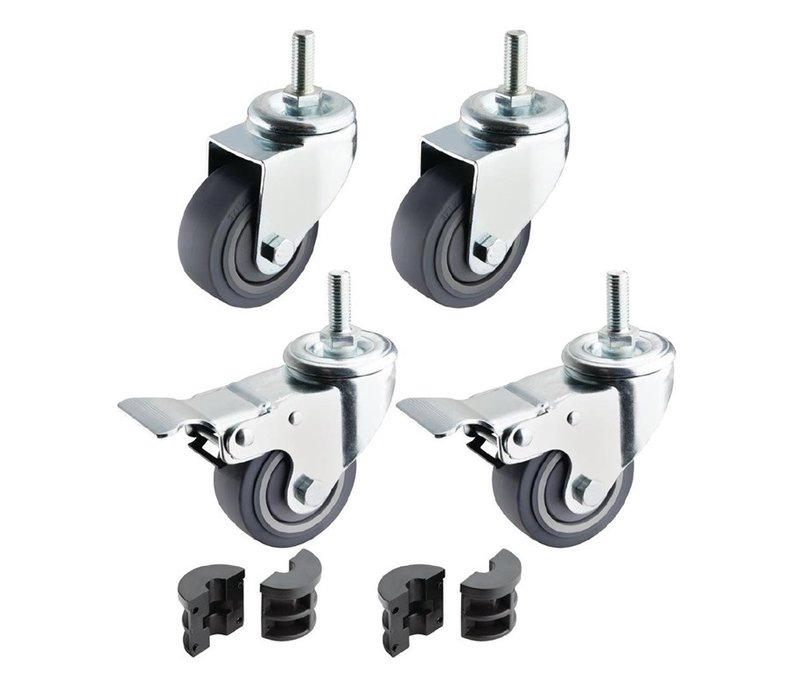 Vogue 4 Wheels for the Vogue Stainless Steel Tables | 2 Braked Make tables 6.5 cm higher