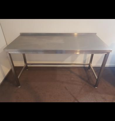 XXLselect SHOW MODEL   Stainless steel work table   1400 x 700 x 850 mm   With splashback