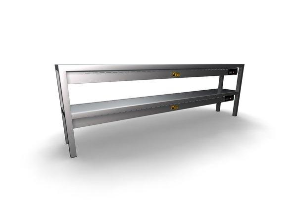 Combisteel Etagere Keramisch Verwarmd | 300x(H)650mm | 2 Niveaus | Beschikbaar in 6 Breedtes