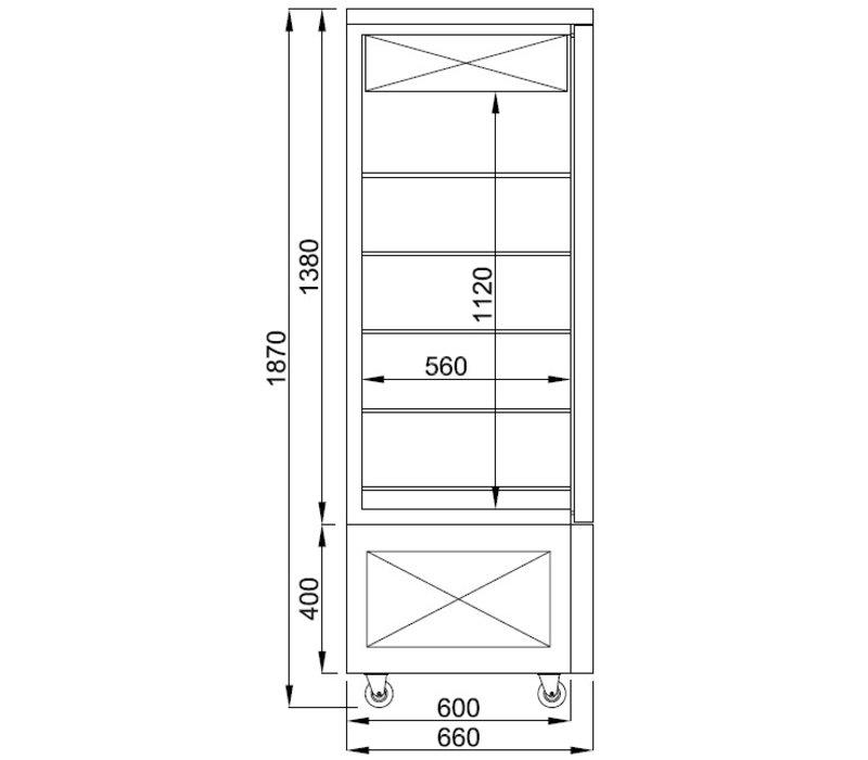 Combisteel Gekoelde Gebaksvitrine | Zwart | 400 Liter | 800x660x(H)1870mm