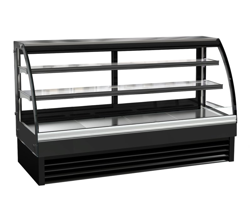 Combisteel Refrigerated display Curved window | Black Model 400 liters | 2000x680x (H) 1200mm