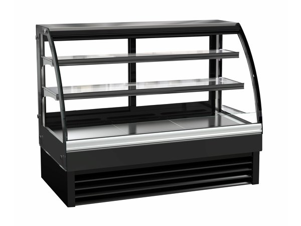 Combisteel Refrigerated display Curved window | Black Model 298 liters | 1500x680x (H) 1200mm