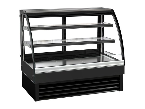 Combisteel Refrigerated display Curved window | Black Model 236 liters | 1200x680x (H) 1200mm