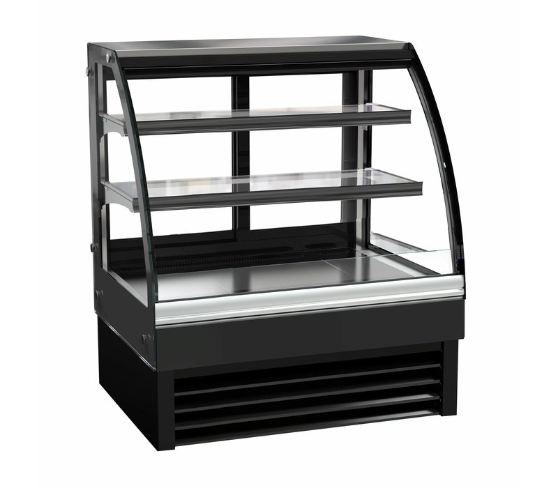 Combisteel Refrigerated display Curved window | Black Model 175 liters | 900x680x (H) 1200mm