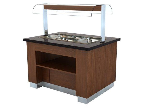 Combisteel Warm Buffet Wenge | Voor 100mm Diepe Bakken | 1600x1000x(H)900/1450mm