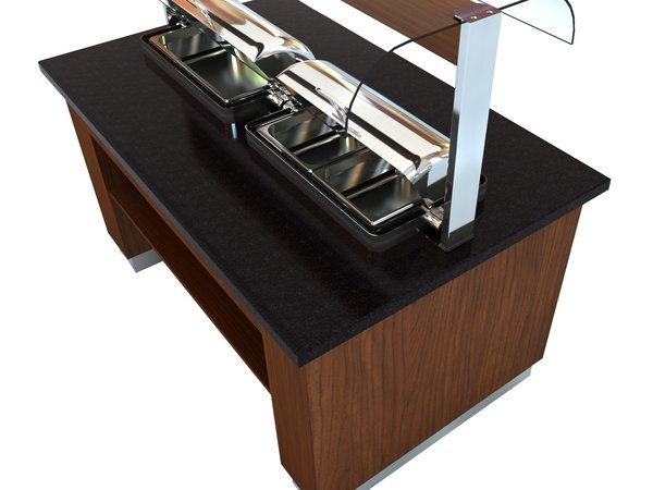 Combisteel Warm Buffet Wenge | 2x 1/1GN Chafing Dish | 1600x1000x(H)900/1450mm
