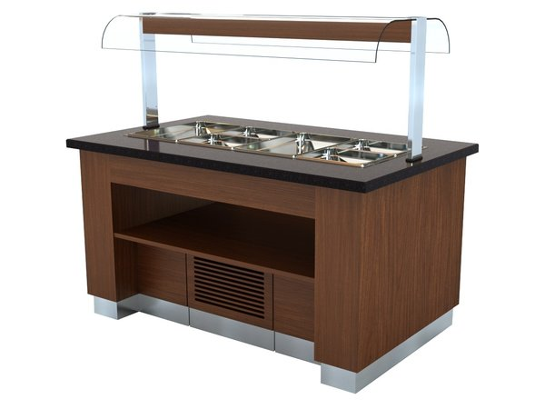 Combisteel Chilled Buffet Wenge | For 100mm deep containers 1600x1000x (H) 900/1450 mm