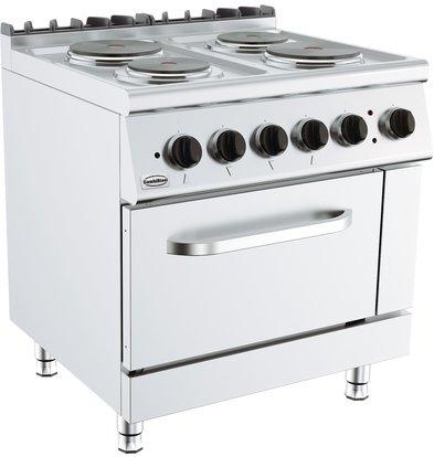 Combisteel Base 700 Elektrische Kooktafel met Oven | 2x 2,25 & 2x 1,85 kW | 800x700x(H)900mm