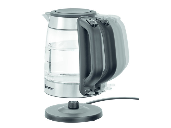 Bartscher Water kettle with glass capacity 1.7 liters   Blue bottom lighting