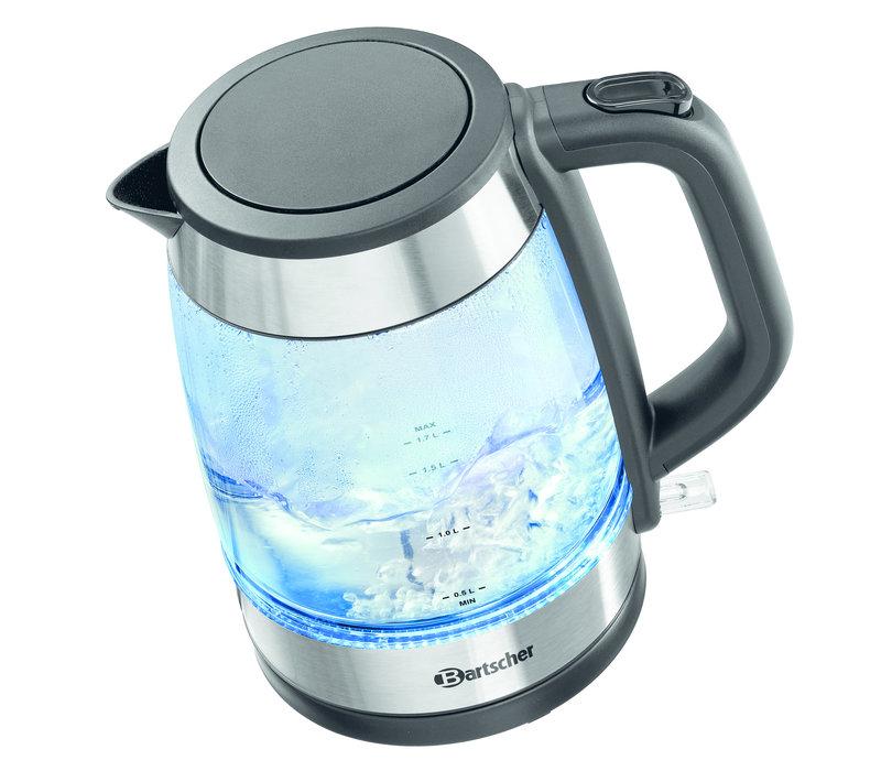 Bartscher Waterkoker met Glazen Inhoud | 1,7 Liter | Blauwe Bodemverlichting