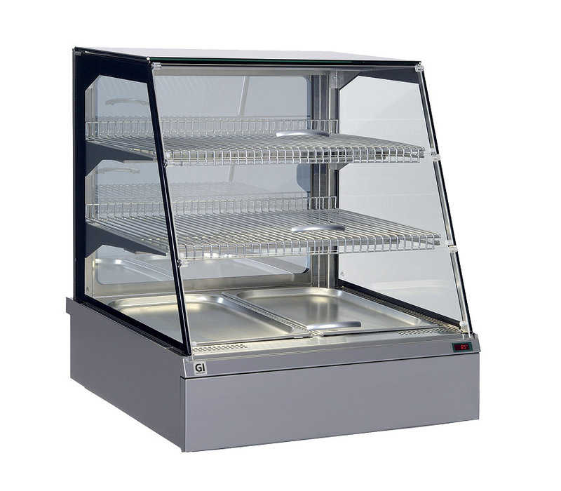 Snacks to Go SnacksToGo Keep warm display case | front water drawer | Stainless steel with safety glass | 746x717x (H) 845mm