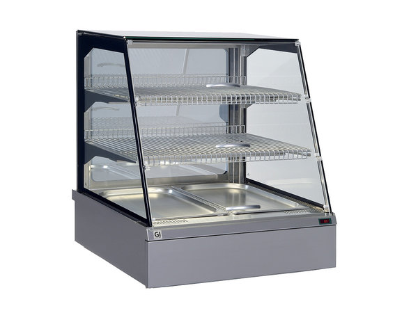 Snacks to Go SnacksToGo Warmhoudvitrine | RVS met Veiligheidsglas | 746x717x(H)845mm