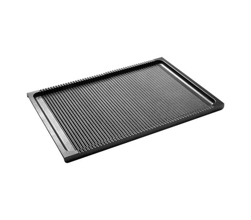 XXLselect Aluminium Grillplaat Gegroefd | Teflon Coating | 380x265mm