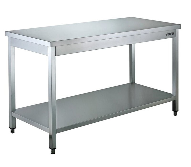 Saro Stainless Steel Work Table + Bottom Shelf | 600mm Deep 850mm high | Welded model Available in 9 lengths
